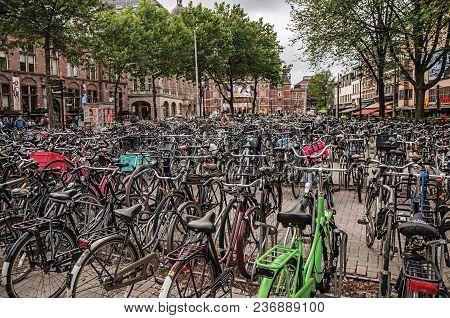Amsterdam, Northern Netherlands - June 24, 2017. Hundreds Of Bicycles Parked In Square Of Amsterdam