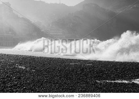 Beach Of Camogli In A Day Of Rough Sea