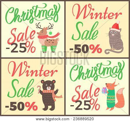 Christmas Sale -25 , Advertising Posters Collection Representing Decorated Title And Reindeer, Cat A
