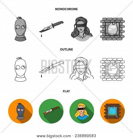 Photo Of Criminal, Scrap, Open Safe, Directional Gun.crime Set Collection Icons In Flat, Outline, Mo