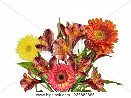 Bouquet Of Beautiful Orange Yellow Alstroemeria Flowers And Gerberas Isolated On White Background -