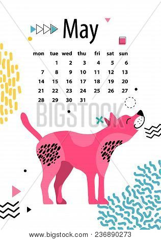 May Calendar For 2018 Year With American Hairless Terrier With Pink Skin Vector Illustration. Dates