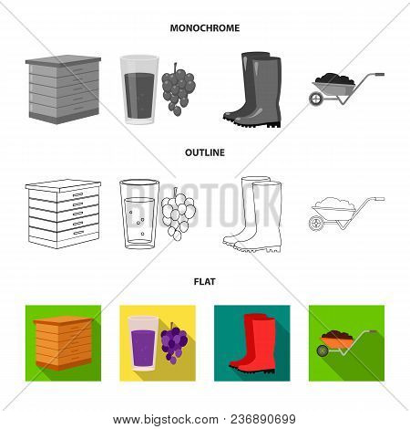 Spikelets Of Wheat, A Packet Of Seeds, A Tractor, Gloves.farm Set Collection Icons In Flat, Outline,