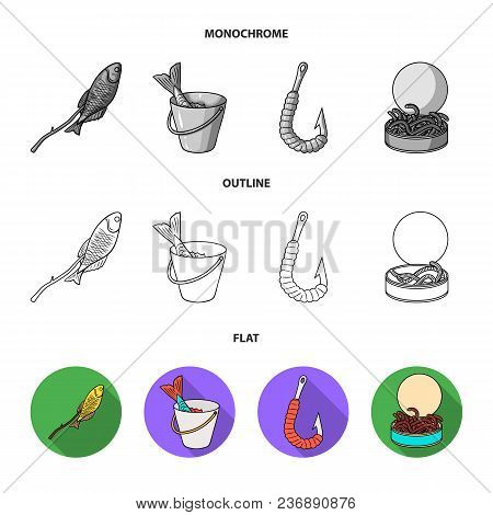 Fishing, Fish, Catch, Hook .fishing Set Collection Icons In Flat, Outline, Monochrome Style Vector S