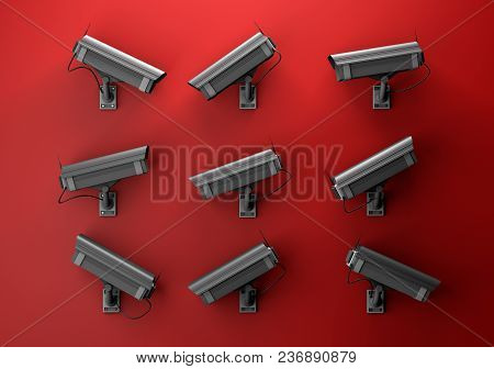 3d Illustration Of Data Protection Technology Privacy Concept With Many Surveillance Cameras On A Re
