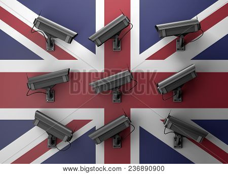 3d Illustration Of Data Protection Technology Privacy Concept With Many Surveillance Cameras With Uk