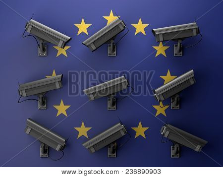 3d Illustration Of Data Protection Technology Privacy Concept With Many Surveillance Cameras With Eu