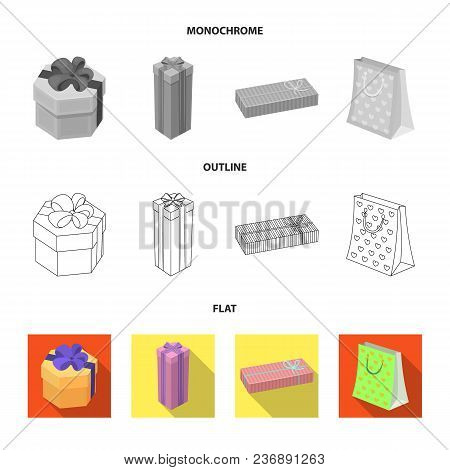 Gift Box With Bow, Gift Bag.gifts And Certificates Set Collection Icons In Flat, Outline, Monochrome