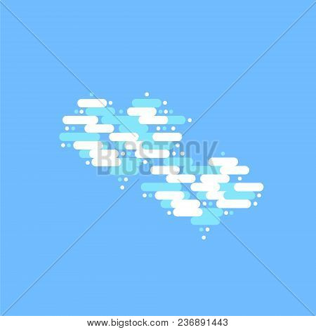 Blue Sky With Two White Clouds In The Shape Of A Heart. Vector Illustration.