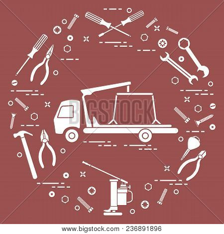 Repair Cars: Tow Truck, Wrenches, Screws, Key, Pliers, Jack, Hammer, Screwdriver. Design For Announc