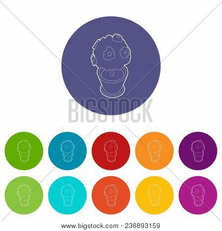 Bonsai Plant In A Pot Icons Color Set Vector For Any Web Design On White Background