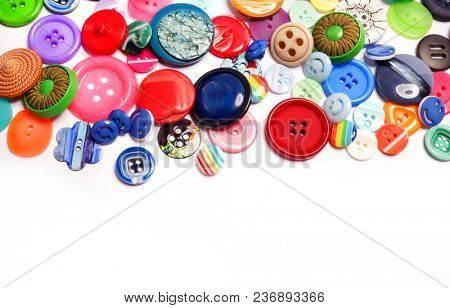 Bright colored buttons on a white background. Fashion button.