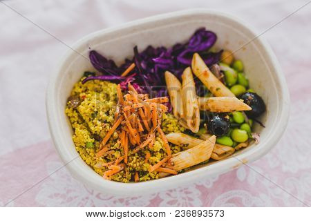 Healthy Take Away Food In Lunch Box With Mixed Vegetables Salad And Natural Ingredients