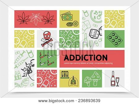 Harmful Addictions Infographic Concept With Marijuana Leaves Money Chips Dice Skull Cigarettes Drugs