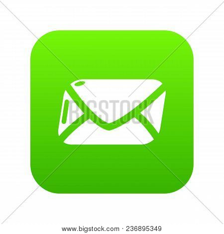 Mail Icon Green Vector Isolated On White Background