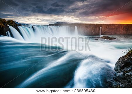 Amazing view of powerful Godafoss cascade. Location Bardardalur valley, Skjalfandafljot river, Iceland, Europe. Scenic image of beautiful nature landscape. Summer scene. Discover the beauty of earth.