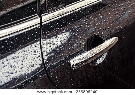 Car In Drops Of Water After Rain