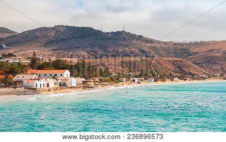 Vila Baleira. Coastal Landscape Of Porto Santo Island, Madeira Archipelago, Portugal