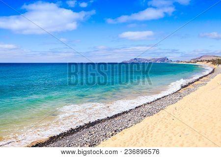 Vila Baleira Beach. Coastal Landscape Of Porto Santo Island In Madeira Archipelago, Portugal