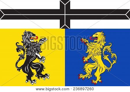 Flag Of Viersen Is A District In The West Of North Rhine-westphalia, Germany. Vector Illustration
