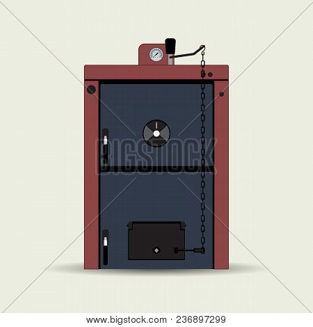 Vector Image Of A Solid Fuel Heating Boiler. Boiler For Heating Residential And Non-residential Prem