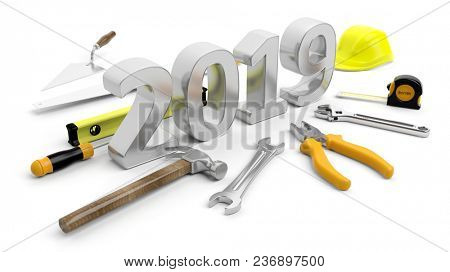 New year 2019. Hand tools and number 2019 isolated on white background. 3d illustration