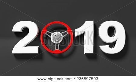 New year 2019 digits with red car's steering wheel isolated on black background. 3d illustration