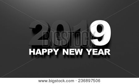 Happy new year 2019 message on black background. 3d illustration