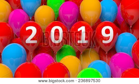 New year 2019 on red balloons, colorful balloons background. 3d illustration