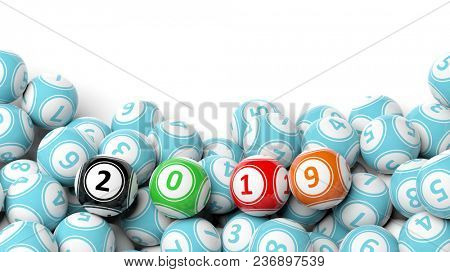 New year 2019 digits on bingo balls. Bingo lottery balls heap on white background, copy space. 3d illustration