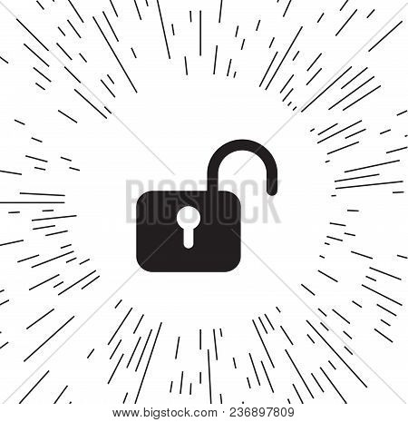 Lock Icon Vector Against The Background Of The Rays