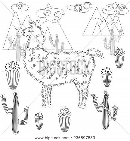 Coloring Page Of Cartoon Lama. Lama, Coloring For Adults And Children