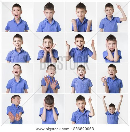 Collage About Funny Teenager, Expressions Set Over White Background. Handsome Eight Year Old Teen Bo