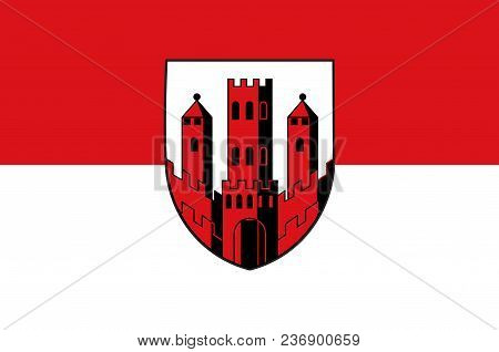 Flag Of Dinslaken Is A Town In The District Of Wesel, In North Rhine-westphalia, Germany. Vector Ill