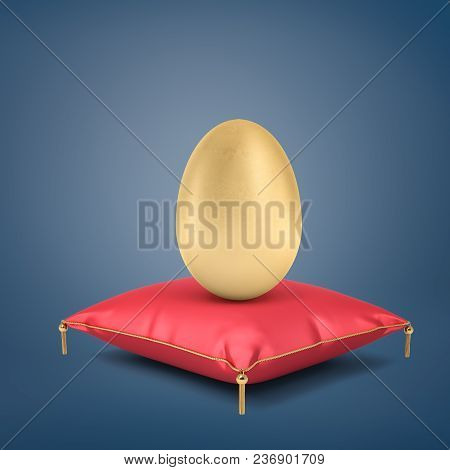3d Rendering Of A Giant Golden Egg Stands On A Red Silk Cushion With Golden Tassels On A Blue Backgr