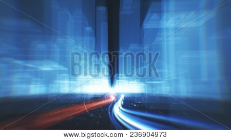 Abstract Background Of Fiber Optic Cables Carrying Information Into Wireframe City Buildings 3d Illu