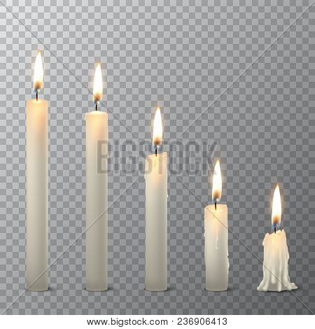 Vector 3d Realistic Different White Paraffin Or Wax Burning Party Candle Icon Set Closeup Isolated O