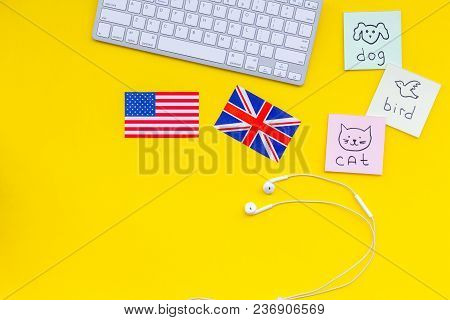 Study English Online.english For Kids. Elementary. British And American Flags, Computer Keyboard, St