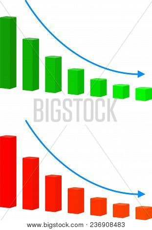 Chart With Bars Declining Vector Icon. Decrease Sign Icon. Finance Graph Symbol. Vector On White Bac