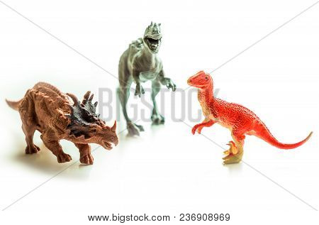Dinosaurs Toy On White Isolated Background Small Sized