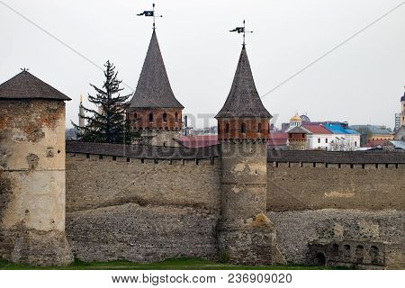 Kamianets Podilskyi Fortress Built In The 14th Century. View Of The Fortress Wall With Towers At Ear