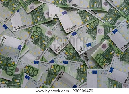 Scattered 100 Euro, Banknotes, European Currency - Background.