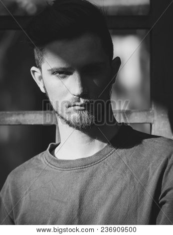 Monochrome Portrait Of Young Lonely Man. Black And White Photo Of Male With Beard