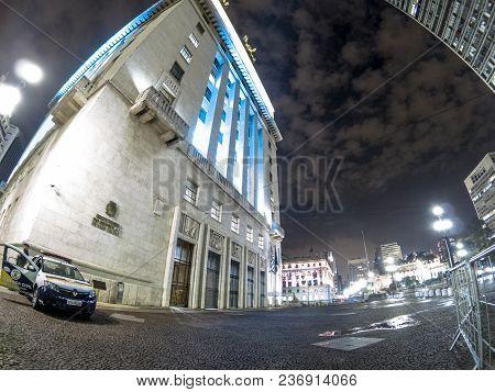 Sao Paulo, Brazil, March 29, 2018. Facade Of Anhangabau Palace Or Matarazzo Building, City Hall In S