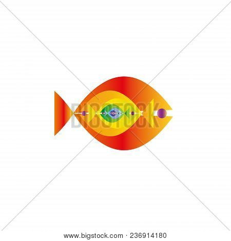 Abstract Colorful Fishes Together- Vector Graphic. This Logo Template Can Be Representative Of Trave