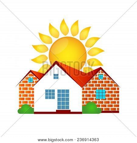 House Made Of Bricks And Sun Vector