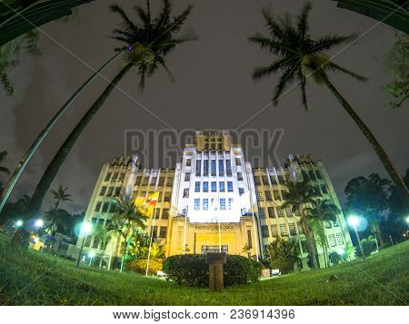 Sao Paulo, Brazil, April 01, 2018. View Of Facade Of The Biological Institute, At Night, In São Paul
