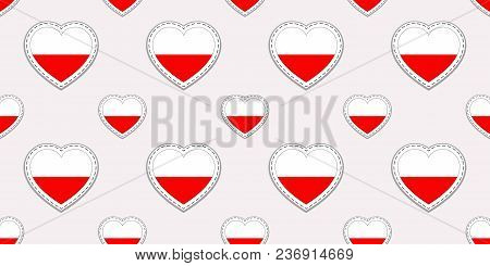 Poland Flag Seamless Pattern. Vector Polish Flags Stikers. Love Hearts Symbols. Texture For Language