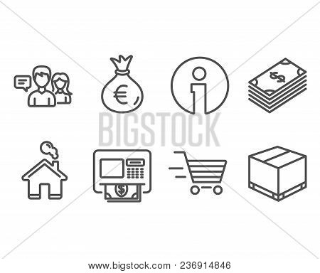 Set Of Dollar, Money Bag And Delivery Shopping Icons. People Talking, Atm And Delivery Box Signs. Us