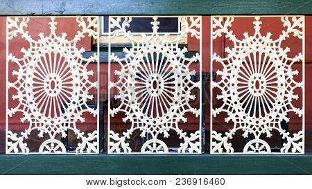 Culcairn, Australia - March 20, 2018:  Detail Of The Cast Iron Balustrade Of The Centenary Culcairn
